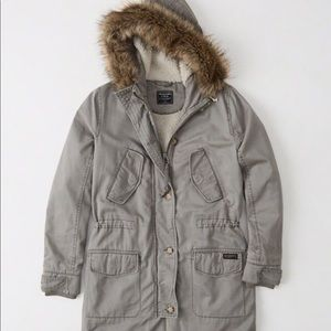 Sherpa lined twill parka - grey